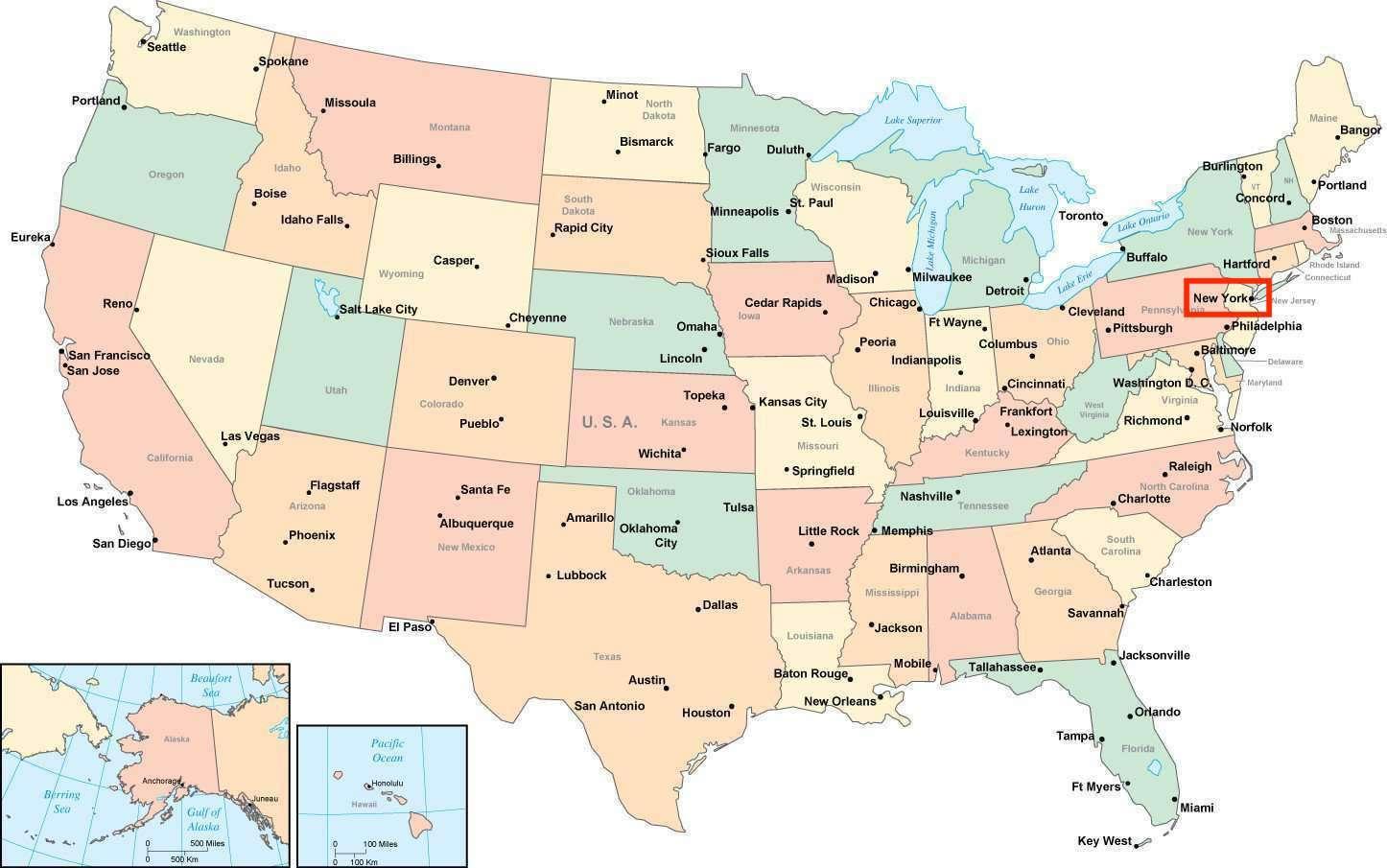 New York-map-usa - New York auf der Karte der usa (New York ...