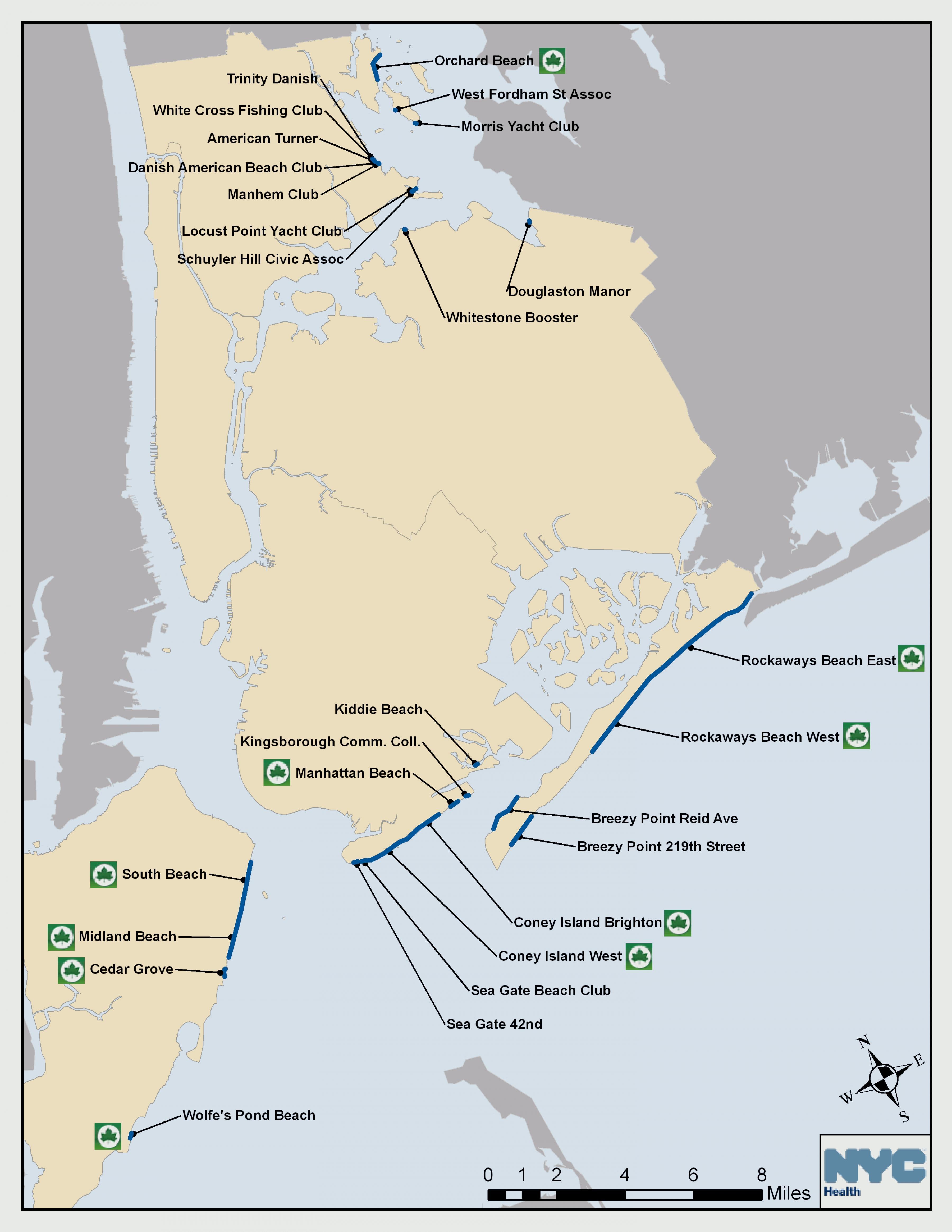 New York beach Karte - NYC beach Karte (New York - USA)