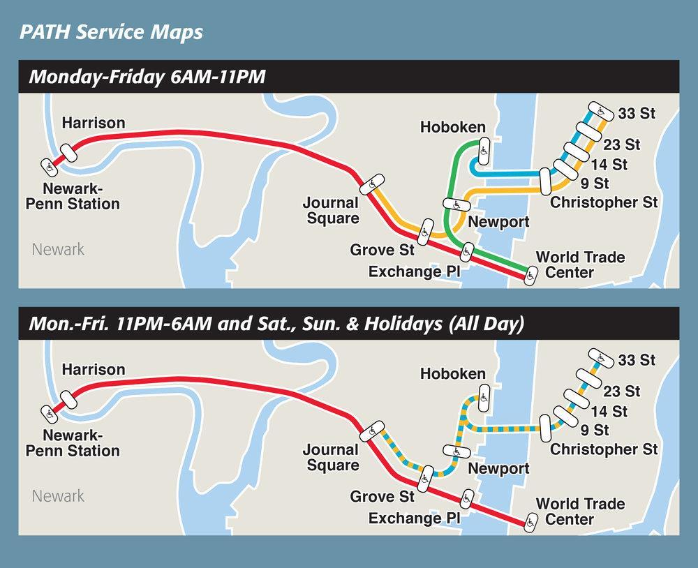 Pfad-station anzeigen - NYC-path-map (New York - USA)