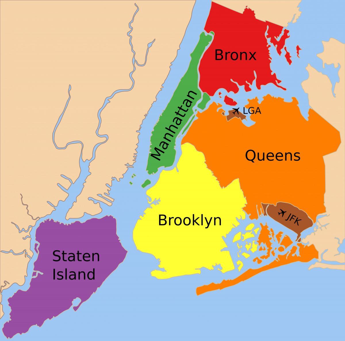 Karte von New York City-Stadtbezirke - Karte der fünf boroughs von ...