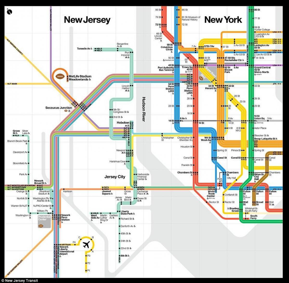 New York, new jersey, U-Bahn-Karte - New-York-new jersey metro Karte ...