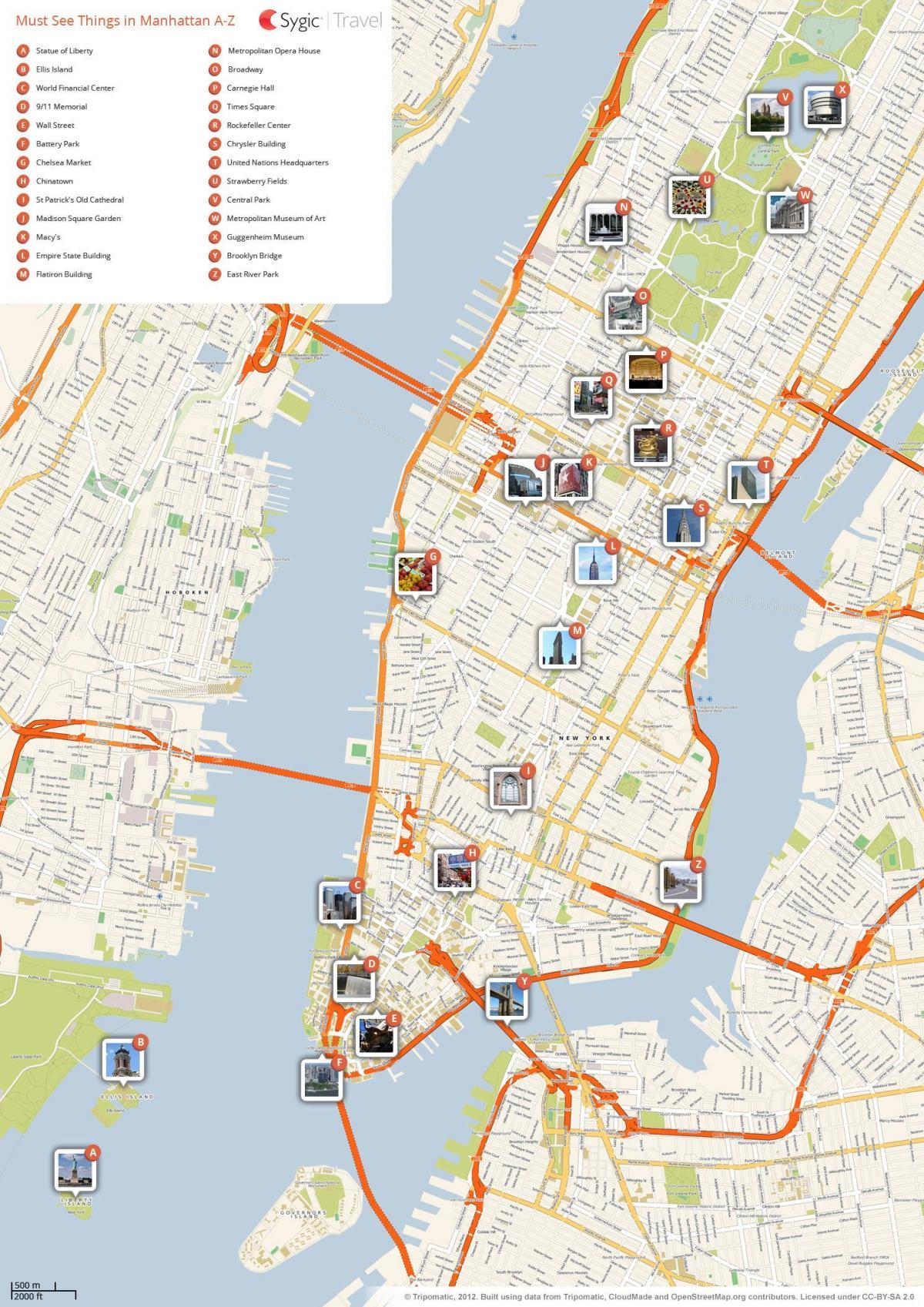 New York City tourist map - NYC-Standorte (New York - USA)